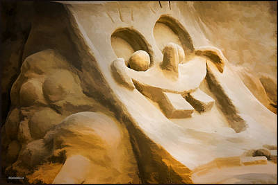 Photograph - Sponge Bob Blue Water Sand Sculpture by LeeAnn McLaneGoetz McLaneGoetzStudioLLCcom