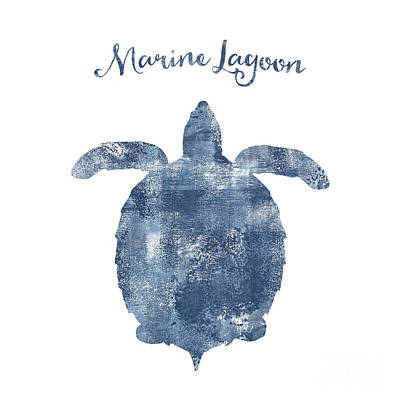 Ocean Turtle Drawing - Sponge Painted Turtle Marine Lagoon, Delft Blue Nautical Art by Tina Lavoie