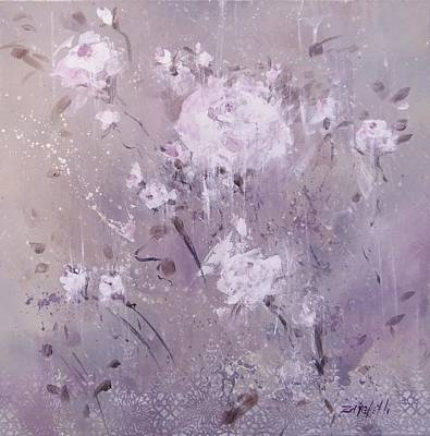 Abstract Rose Painting - Spontaneous by Laura Lee Zanghetti