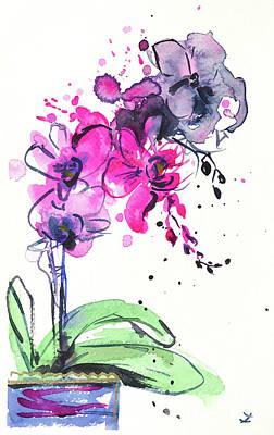 Painting - Spontaneous Orchids 2 by Zaira Dzhaubaeva