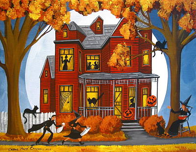 Cat Art Painting - Spook House - Artist Folkartmama by Debbie Criswell