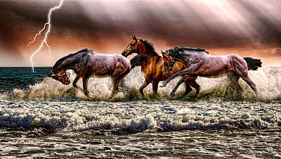 Digital Art - Spooked Horses In The Ocean - Digital Art by Ericamaxine Price