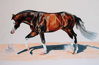 Painting - Spook's Gotta Gun Apha Stallion by Cheryl Poland