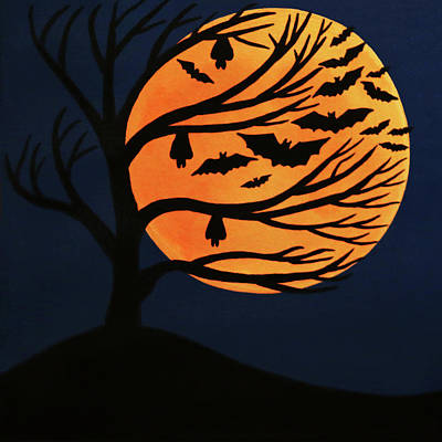 Painting - Spooky Bat Tree by Sarah Jean