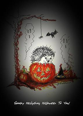 Mixed Media - Spooky Hedgehog Halloween by Denise Fulmer