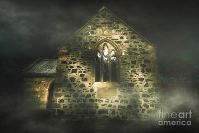 Haunted Houses Photograph - Spooky Stone Church In A Haunted Winters Night by Jorgo Photography - Wall Art Gallery