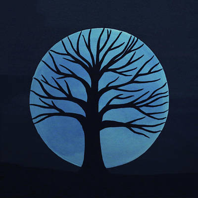 Painting - Spooky Tree Blue by Sarah Jean