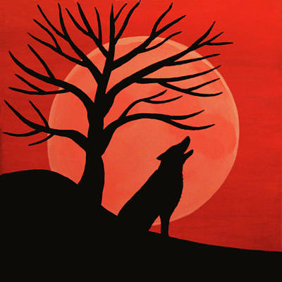 Spooky Wolf Tree Art Print