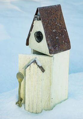 Photograph - Spoon Birdhouse In Snow by Douglas Barnett