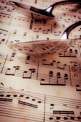 Sheet Music Photograph - Spoon Reflection  by Garry Gay