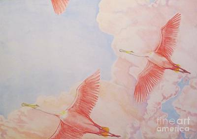 Spoonbill Drawing - Spoonbill Skies by Sue Bonnar