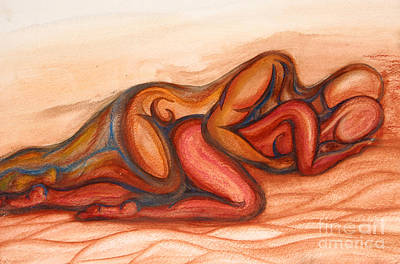 People On The Beach Mixed Media - Spooning by Aurora Jenson