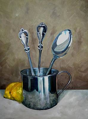 Pottery Barn Painting - Spoons Lemons And A Baby Cup by Amy Higgins