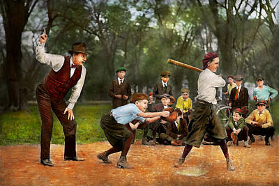 Photograph - Sport - Baseball - Strike One 1921 by Mike Savad