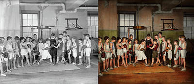 Print featuring the photograph Sport - Boxing - Fists Of Fury 1924 - Side By Side by Mike Savad