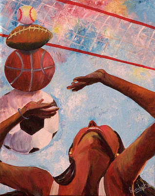 Women Soccer Painting - Sports Arena by Sarabjit Singh