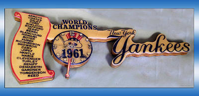 Ny Yankees Mixed Media - Sports Baseball 1961 Ny World Champions Clock by Thomas Woolworth
