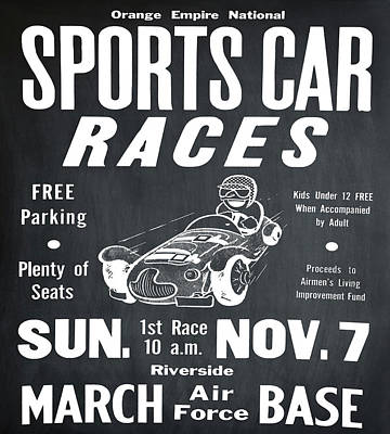 Sports Car Races In Chalk Art Print by Bill Cannon