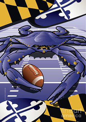 Raven Digital Art - Sports Crab Raven, Maryland's Crab Celebrating Baltimore Football by Joe Barsin