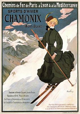 Mixed Media - Sports D'hiver Chamonix - Girl Skiing - Vintage Advertising Poster by Studio Grafiikka