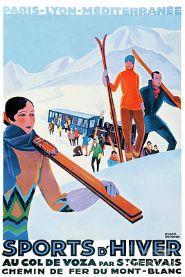 Winter Sports Painting - Sports D'hiver, French Travel Poster by Pablo Romero