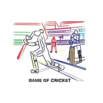 Painting - Sports Fan Cricket Played India England Pakistan Srilanka Southafrica by Navin Joshi