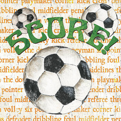 Sports Fan Soccer Art Print by Debbie DeWitt