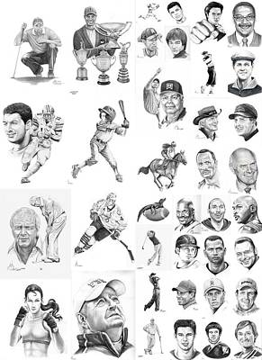 Baseball Drawing - Sports Figures Collage by Murphy Elliott