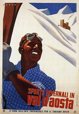 Sports Royalty-Free and Rights-Managed Images - Sports Invernali In Val daosta - Man Holding Skis - Retro travel Poster - Vintage Poster by Studio Grafiikka