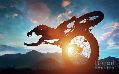 Photograph - Sportsman Doing Bike Stunts In Mountains. by Michal Bednarek