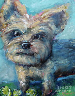 Painting - Sporty Yorkie  by Leslie Saucier