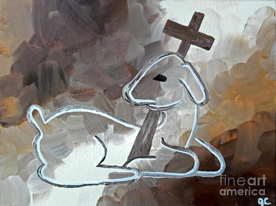 Perfect Christmas Card Painting - Spotless Lamb by Jilian Cramb - AMothersFineArt