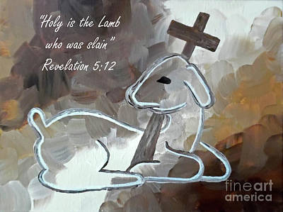 Perfect Christmas Card Painting - Spotless Lamb With Scripture by Jilian Cramb - AMothersFineArt