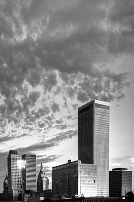 Photograph - Spotted Clouds Over The Tulsa Skyline - Black And White by Gregory Ballos