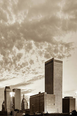 Photograph - Spotted Clouds Over The Tulsa Skyline - Sepia by Gregory Ballos