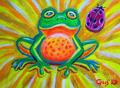 Amphibians Painting - Spotted Frog And Ladybug by Nick Gustafson