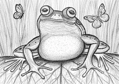 Swamp Drawing - Spotted Frog by Nick Gustafson