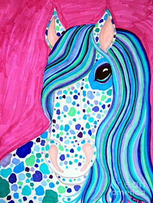 Animals Drawings - Spotted Horse by Nick Gustafson
