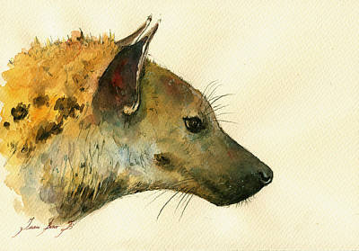 African Painting - Spotted Hyena Animal Art by Juan  Bosco