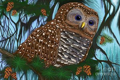 Digital Art - Spotted Owl  by Nick Gustafson