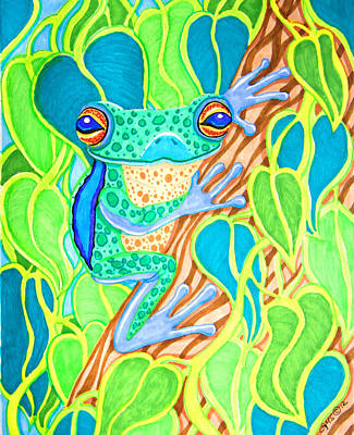 Animals Drawings - Spotted Tree Frog by Nick Gustafson