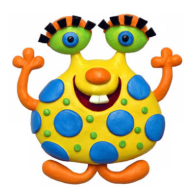 Polymer Clay Mixed Media - Spotted Yellow Monster by Amy Vangsgard