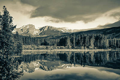 Photograph - Sprague Lake Morning Reflections - Rocky Mountain National Park In Sepia by Gregory Ballos