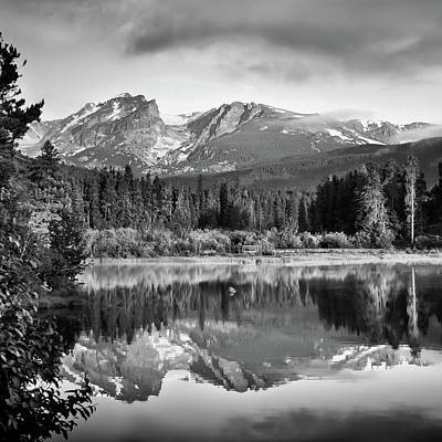 Photograph - Sprague Lake Reflections - Rocky Mountains - Square Black And White by Gregory Ballos