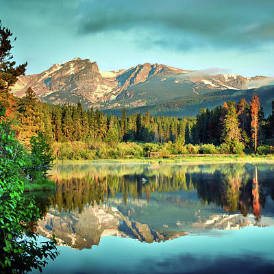 Photograph - Sprague Lake Reflections - Rocky Mountains - Square by Gregory Ballos