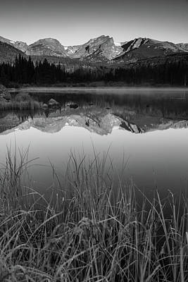 Photograph - Sprague Lake Rocky Mountain Morning - Black And White by Gregory Ballos