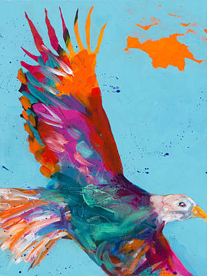 Colorful Eagle Painting - Spread Your Wings And Fly by Tracy Miller