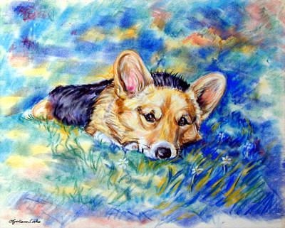 Puppies Painting - Spring - Pembroke Welsh Corgi by Lyn Cook