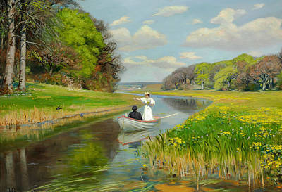 Spring - A Young Couple Rowing Boat On The Odense  Art Print by Mountain Dreams