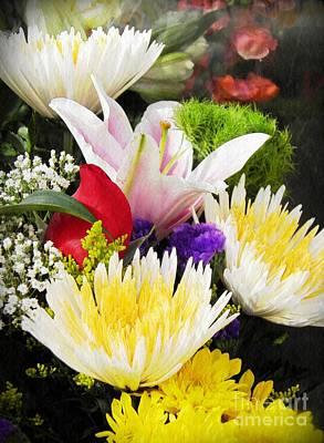 Stargazer Lilies Photograph - Spring Arrangement by Sarah Loft